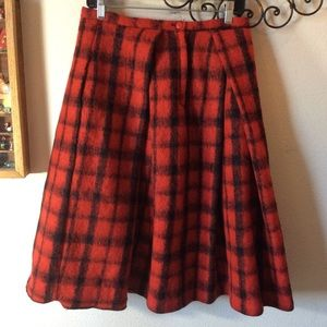 ASOS Wooly Thick pleaded Red Plaid Skirt